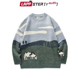 Lappster-Youth Mounts Consing старинные зимние свитеры Пуловер Мужская O-шеей корейский мод свитер женщины повседневная одежда Harajuku 201125