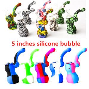 "5.3 ""Silikon-Bubbler Tragbare Tarnung Silikon-Wasserleitungen Wasserbongs Abnehmbare Wasserpfeife Unzerbrechlich Raucheröl DAB-Rigg"