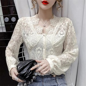 New Spring Autumn Women Hollow Out Mesh Blouse Slim V-Neck Floral Embroidery Lace Shirts Female Puff Sleeve Blouses Tops AB1992