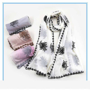 Winter Water-soluble wool lace embroidery thin gradient elegant scarf shawl for Women 78*200CM