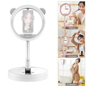 FOTOGHT LIGHTING LED LED Luz plegable Círculo Lámpara de luz con soporte de teléfono 3 modos de color para maquillaje Selfie Grabación de video
