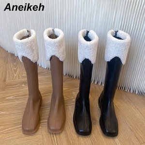 Aneikeh NEW Spring Autumn Zapatos De Mujer 2020 Fashion Zipper Women's Boots Patchwork Knee-High Square Heel Ladies Shoes Sewing