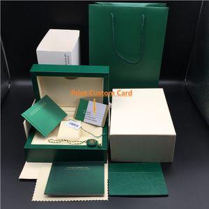 Оригинал Правильный Matching Papers Security Card Gift Bag Top Green Wood Watch Box для Rolex коробки Буклеты часы Free для печати CuS