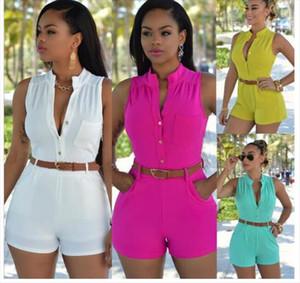 S 2XL Women Girls Sexy Off Shoulder Button Decoration Waist Belted Jumpsuit Woman Playsuit 11 Color Optional Plus Sizes XXL