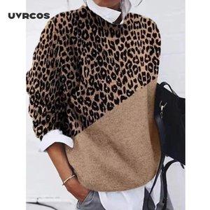 UVRCOS Мода женщин O шеи Сыпучие свитера 2020 осень зима Хаки Leopard печати Color-Block с длинным рукавом свитера