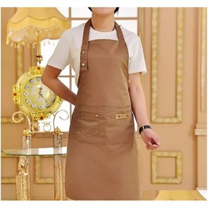 Tools Kitchen, Dining Bar Home & Gardenpure Color Cooking Kitchen Apron For Woman Men Chef Waiter Cafe Shop Bbq Hairdresser Aprons Bibs Drop