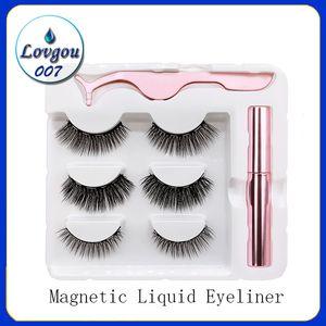 3 pares de pestañas magnéticas falsas pestañas + Eyeliner de líquido + Pinza Pinzas Juego de maquillaje de ojos 3D Imán 3D Pestañas Falsas Natural Reutilizable