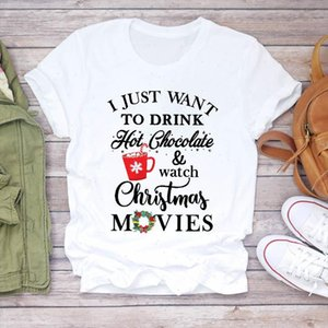 Mulheres Cartas Filme New Year Trend Feliz Natal Impressão Tshirts Roupas Gráfico Feminino Parte Top T Camiseta Tee Camiseta