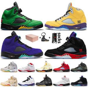 Nike Air Jordan 5 5s Off White Retro 5 Mit Box 2020 Jumpman 5 5s Herren-Basketball-Schuhe SatinJordanienRetro Oregon Ducks Was die 5 Alternate Grape TOP 3 Turnschuh-Trainer