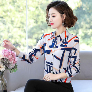 2020 chiffon long sleeve women's new spring dress loose shirt top bottom small shirt middle aged mother dress girl