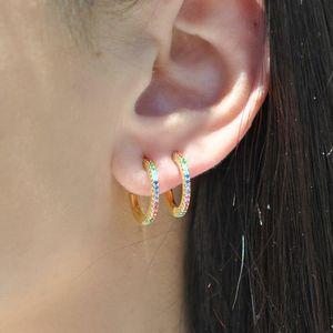 Colorful CZ Hoops Boucle d'oreille 925 Sterling Silver Bijoux fine Mini petit cerceau Coloré Stone Design d'été Mode Nice Ear Bijoux