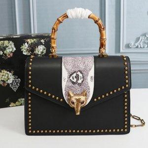 Chain Flap Bag Handbag Purse Shoulder Bags Fashion Genuine Leather Fox Head Hardware Bamboo Handle Interior Zipper High Quality Women Bag