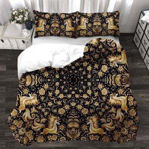 Fashion Golden Flower Children Kids Bedding Set 3D Cartoon Duvet Cover with Pillowcase Bed Lining Comfortable Warm Home Textiles