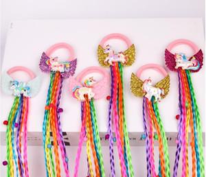 Yeni Unicorn Tasarım Çocuk Peruk Elastik Saç Bantları Kızlar Örgüler Unicorn Kanat Saç Kravat Bükümlü Tatlı Çocuklar Gökkuşağı Kauçuk Bant 20 adet /