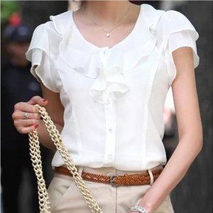 5XL Large Size Women Ruffle Blouses By Beads Short Sleeve Casual Top Shirts 2019 Female Clothes Autumn Slim Office Lady Shirts