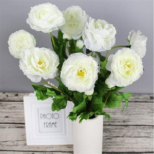 "12Pcs Fake Short Stem Valentine Rose 21.65"" Length Simulation Camellia for Wedding Home Decorative Artificial Flowers"