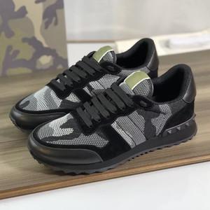 Männer Rockrunner Camouflage Sneakers Designer Mesh Stoff Trainer Top Qualität echtes Leder Outdoor Lace-up Freizeitschuhe mit Geschenkbox 264