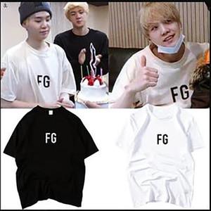 Neue K Pop Bangtan Jungen Sugas Style Initials Hemd Rundhalsausschnitt Kurzarm Top FG Text Drucken T-Shirt