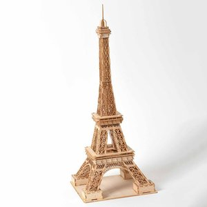 Laser Cutting 3D Wooden Puzzle Wood Constructor Kits Manual Desk Decoration Building Blocks Eiffel Tower Model Toy for Children