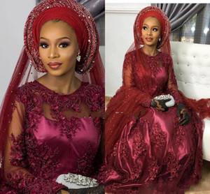Elegante Wein Rote nigerianische Abendkleider A-Line Jewel Illusion Lace Morice Plissee Promi Celebrity Kleider Kleid Für Partei Formale Tragen