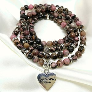 4 Rap Bracelet For Women 72 CM Necklace For Girls Natural Rhodonite Stone 6mm Round Bead Mala Yoga Necklace Fashion Jewelry Z1124