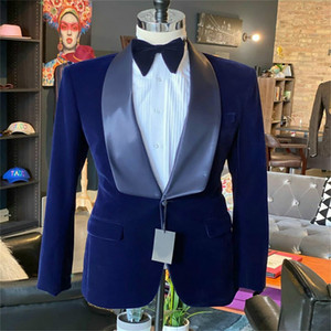Noble Navy Men Suits Velvet One Piece Handsome Formal Large Lapel Customized Fit Men Coat High Quality Patry Outfit