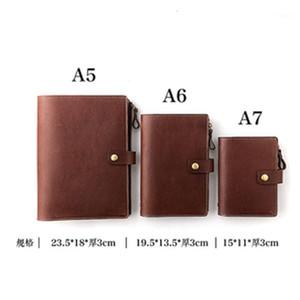 Yiwi Genuine Leather A5 A6 A7 Plainer 6 Loose Folha Binder Diário Notebook com Zip Bag1