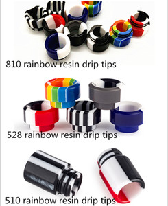3 Style Rainbow Stripe Epoxy Resin 810 510 528 Thread Vape Drip Tip Wide Bore Mouthpiece For TFV8 Big Baby Prince