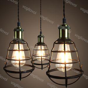 Luces colgantes 1m Colgando American Country Creativity Industrial 85-265V E27 Jaula para comedor Restaurante Barra de café Tienda de ropa DHL