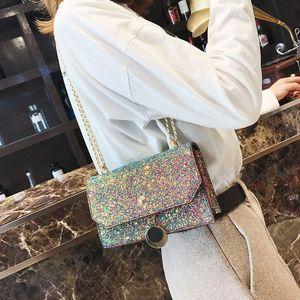 Shoulder Star Fresh Chain Small Square Bag And Single Straddle Women's Bag 12*19*7cm Sweet Handbag Fashionable Sequin Pxvtn