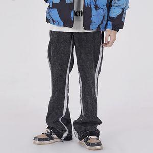 Hip-hop Retro Flared Pants Men Washed Side Striped Wide Leg Casual Denim Trousers Oversize Streetwear Loose Jeans Pants