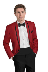 2020 Custom Red Suit Men Groom Wedding Suits For Men Slim Fit 2 Piece Tuxedo Tailored Prom Blazer Terno Masculino Jacket+Pant