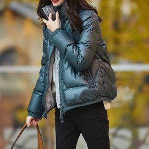 Collated down jacket with contrasting color lining for women Light and short white duck down parkas Fashion for Winter