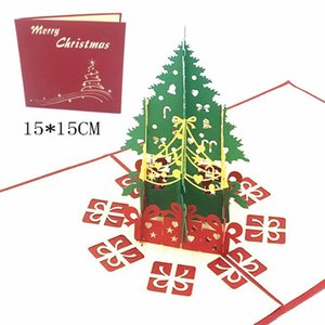 200pcs Christmas Paper Gift 3D Stereo Greeting Card Christmas Tree Birthday Blessing Card Handmade Happy New Year Christmas Greeting Card