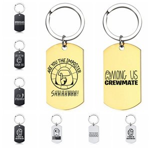 Among Us Keychain Stainless Steel Keyring Gift for Couple Men Women Girls Bag Pendant Car Key Ring Jewelry Accessories Party Gift