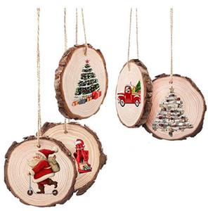 Деревянные круги Рождественские украшения DIY Натуральные круглые деревянные фигуры ремесло дерева пустые кусочки лесорусных дисковых дисков GWB3396