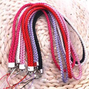 10pcs Lot Woven Pu Leather Lanyard Bracelet Long Keychain Id Lanyard Cell Mobile Phone Camera Neck Lanyard Multifunction Strap H sqcXOT
