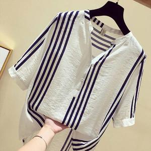 F JE Новая летняя женская рубашка плюс размер с коротким рукавом свободные повседневные V-образные женские вершины вертикальные полосатые блузки большой размер S
