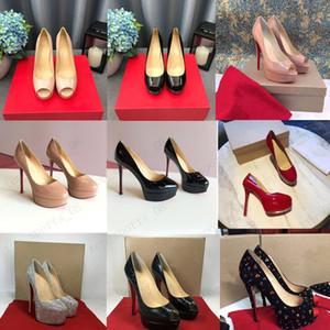 19 Classic Red Fond Talons hauts Plate-forme Chaussures Chaussures Nu / Noir Cuir Pattent Peep-Toe Femmes Robe De Mariage Sandales De Mariage Chaussures Taille 34-45