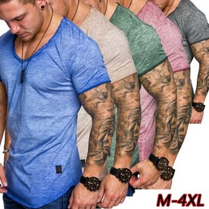 European and American Summer New Scoop Neck Mens T Shirts Leisure Sports Slim Solid Color T-Shirts M-4XL Wholesale