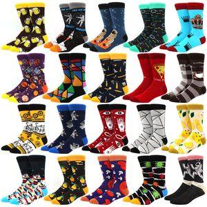 New Mens sock Brand Diamond Ramen Astronaut Pattern Hip hop Cool Socks for Men Winter Thick Long Skate Funny Socks Colorful