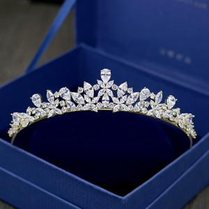 Luxury Cubic Zirconia Crowns Sparking Wedding Crown Tiaras Marquise-Cut Zircon CZ Princess Prom Bride Crown Coronet Hair Jewelry CJ191226