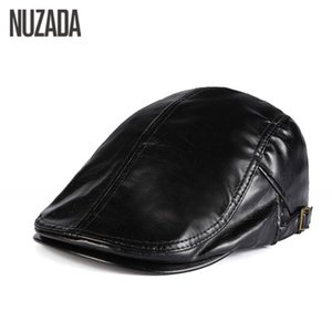 NUZADA Winter Autumn Artificial PU Leather Beret Hats Unisex Men Women Flat Visor Caps Boina 5 Solid Colors Can Adjustable Cap