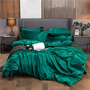 Luxury Satin Silk Bedding Sets Sheet Duvet Cover Pillowcase 3 4 Pcs Flat Sheets Home Textile King Queen Size