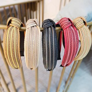 New Fashion Women Hair Accessories Striped Headband Center Knot Casual Turban Headwear Straw Hair Hoop Wholesale