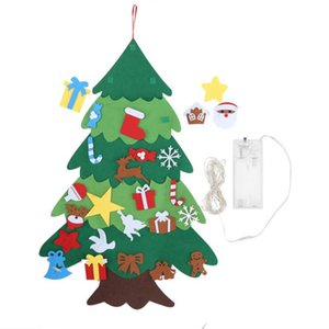Christmas Decoration Wall Hanging Christmas Tree Felt DIY Holiday Party Ornament with LED Tree New Year