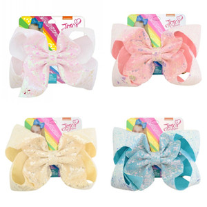 Jojo Siwa Hair Bow Accessory Multi Color Sequin Rainbow Unicorn Gradients Big Bows Hairstick Fashion Girl Hairs Decor 6 5yl L2