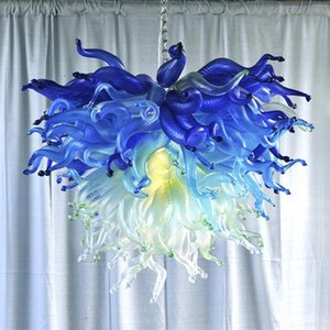Sea Blue Clear LED Ceiling Lights Murano Blown Glass Hanging Lights Wholesale Price Customized Chandeliers for Villa Deco