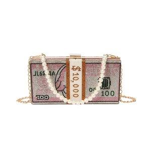 Luxurys Designer Trendy Hundred Dollar Bill Box Sparkly Diamond Clutch Handbag Rhinestone Evening Bag Shoulder Bag Shiny Crystal Purse Oree