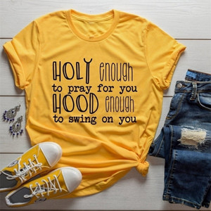 Funny Christian Slogan Tee Holy Enough to Pray for you T-Shirt Graphic Vintage Red Clothing quote Jesus lover girl Tops t shirts MVKW